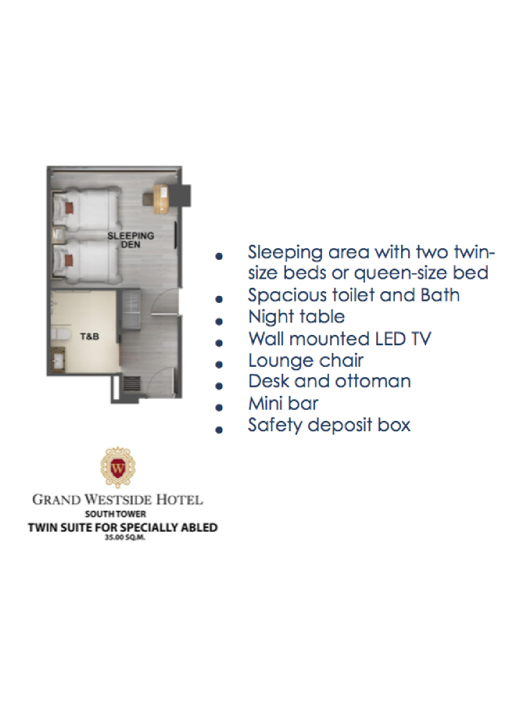 Grand Westside Hotel Twin Suite for Specially-Abled 35sqm