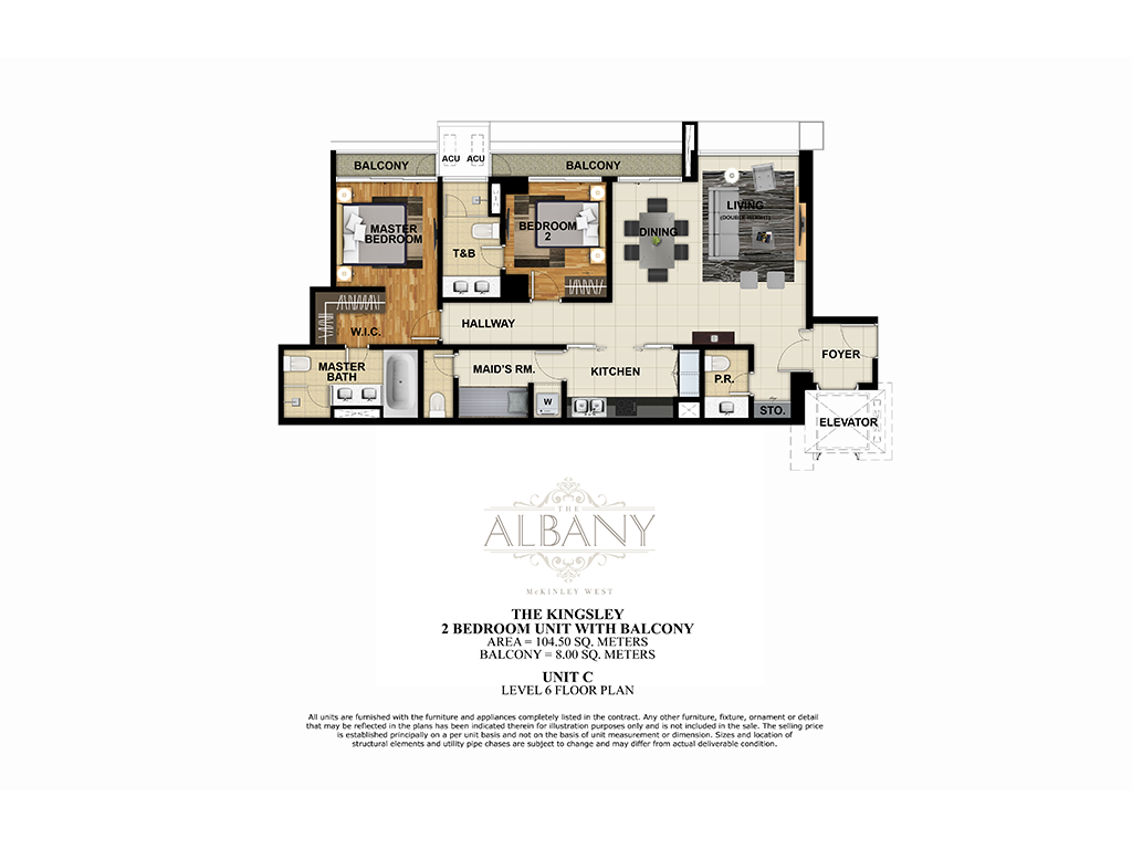 The Albany 2 Bedroom 104.50 + 8.00 SQ.M.