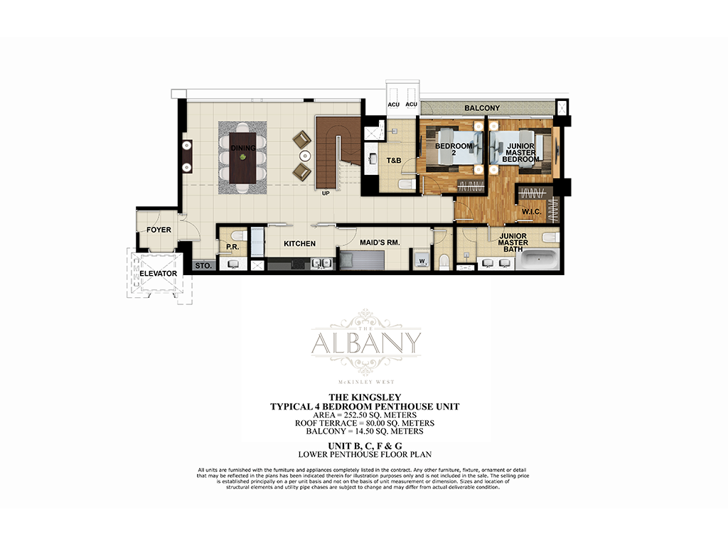The Albany 4 Bedroom Penthouse Unit 252.50 SQ.M.