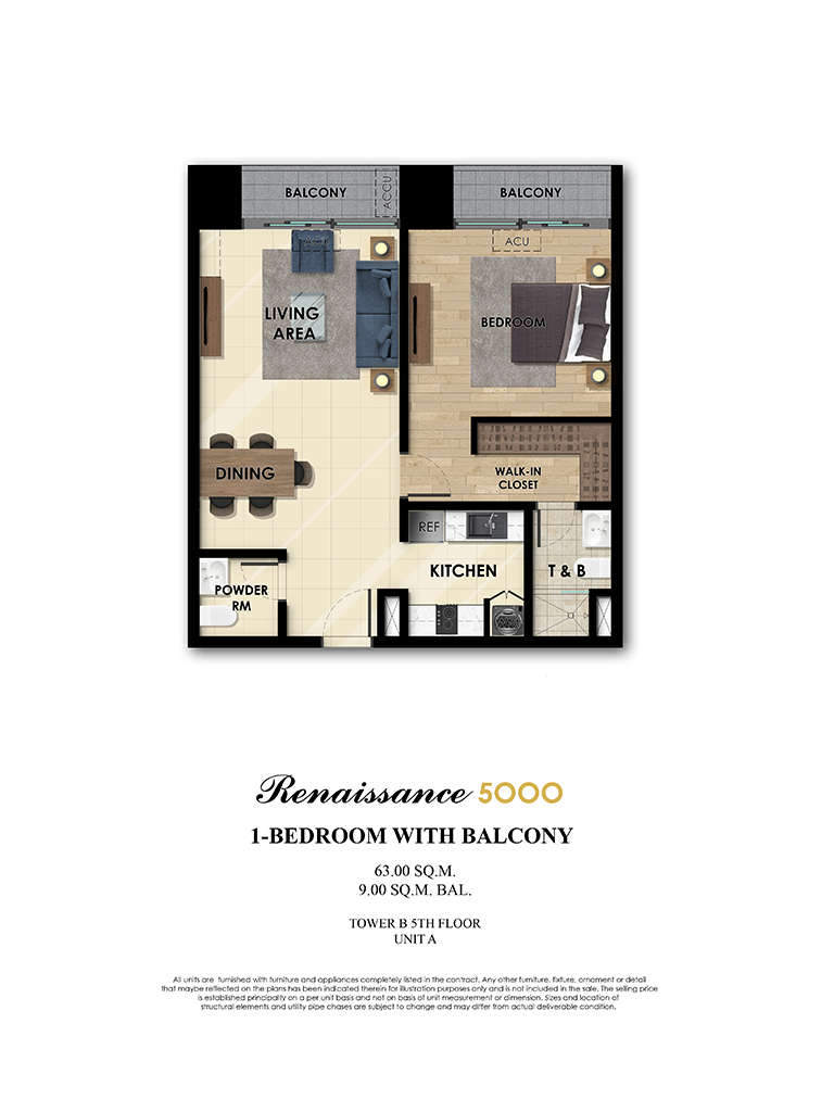 The Fifth 1 Bedroom 63sqm