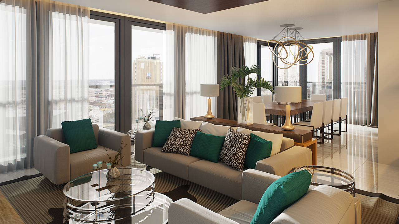 The Fifth Penthouse Living Room